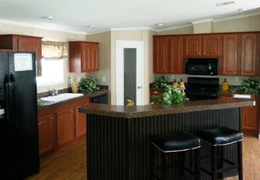 upgraded kitchen in the keith model at prestige homes