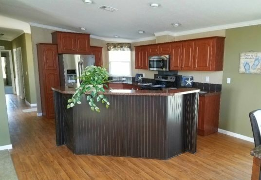 The Islander model kitchen with upgraded appliances