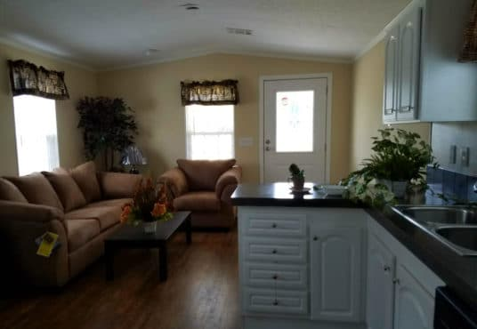 The Park model kitchen with an open floor plan