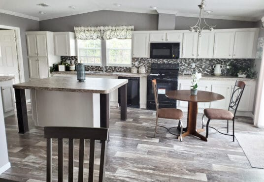 a custom kitchen in the tracy model